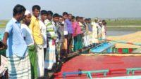 সুনামগঞ্জের বৌলাই নদী দ্রুত খননের দাবিতে নৌ শ্রমিকদের মানববন্ধন
