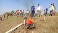 আজমিরীগঞ্জে অবৈধভাবে বালু উত্তোলন : পোড়ানো হলো ড্রেজার